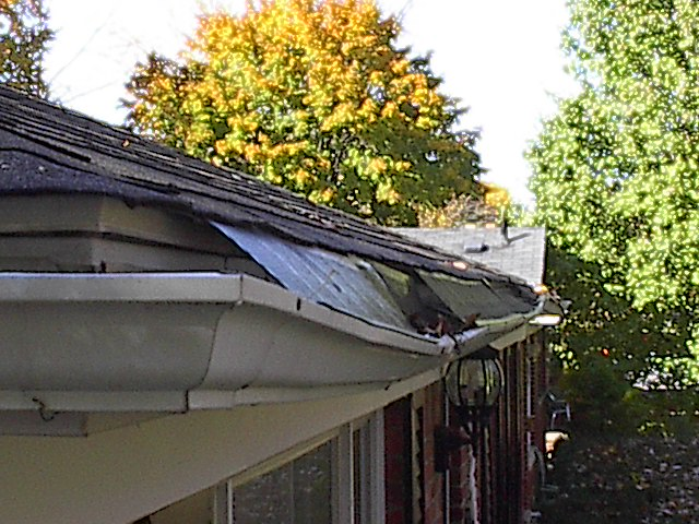 Damage to gutters caused by ice damming